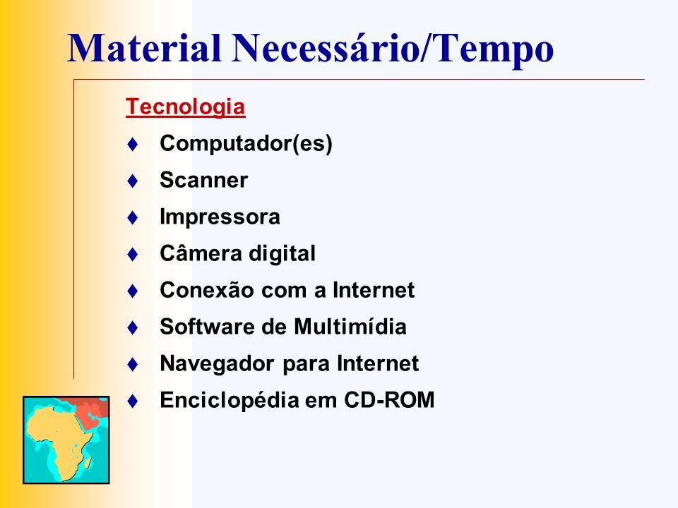 Material Necessário/Tempo Tecnologia Computador(es) Scanner Impressora Câmera digital Conexão com a Internet Software de Multimídia Navegador para Int
