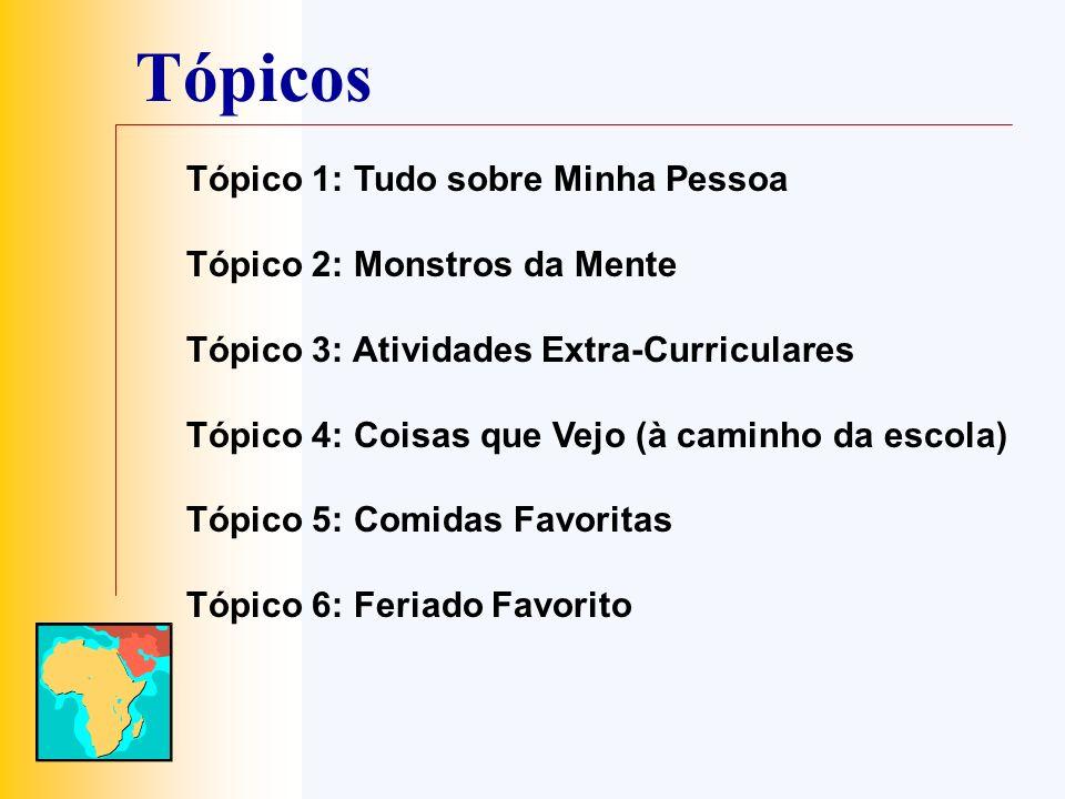 Tópicos Tópico 1: Tudo sobre Minha Pessoa Tópico 2: Monstros da Mente Tópico 3: Atividades Extra-Curriculares Tópico 4: Coisas que Vejo (à caminho da