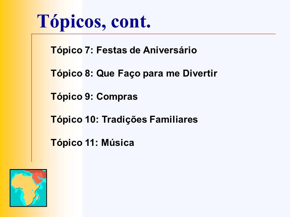 Tópicos, cont. Tópico 7: Festas de Aniversário Tópico 8: Que Faço para me Divertir Tópico 9: Compras Tópico 10: Tradições Familiares Tópico 11: Música