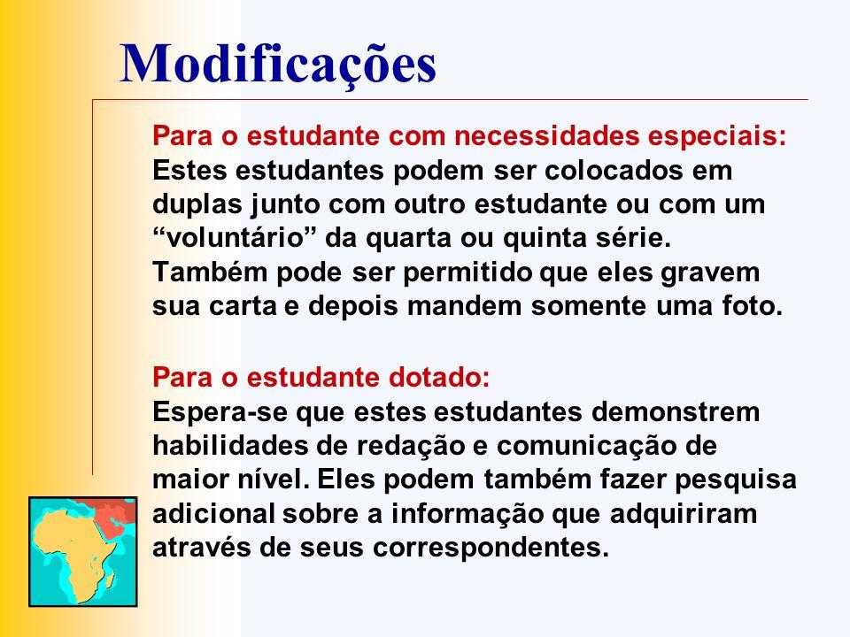 Modificações Para o estudante com necessidades especiais: Estes estudantes podem ser colocados em duplas junto com outro estudante ou com um voluntári