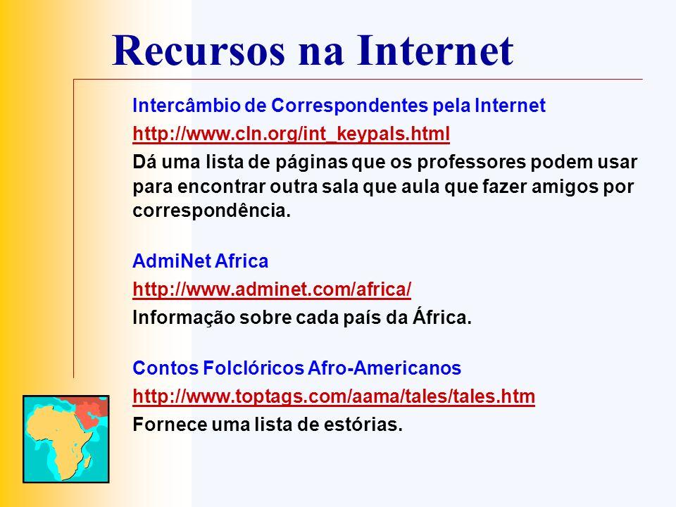 Recursos na Internet Intercâmbio de Correspondentes pela Internet http://www.cln.org/int_keypals.html Dá uma lista de páginas que os professores podem