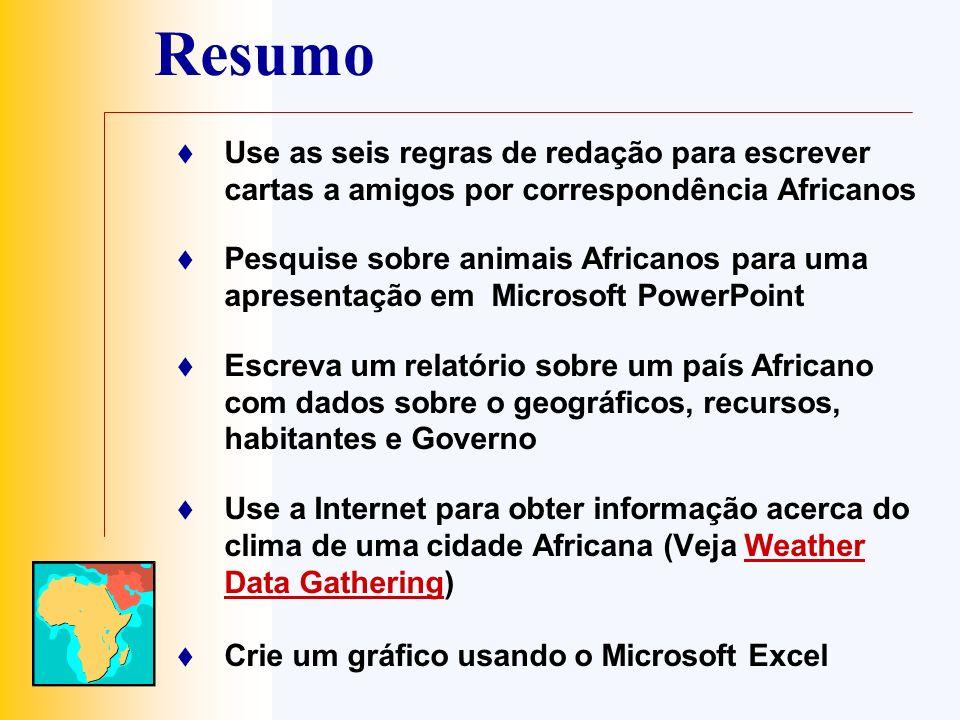 Resumo Use as seis regras de redação para escrever cartas a amigos por correspondência Africanos Pesquise sobre animais Africanos para uma apresentaçã