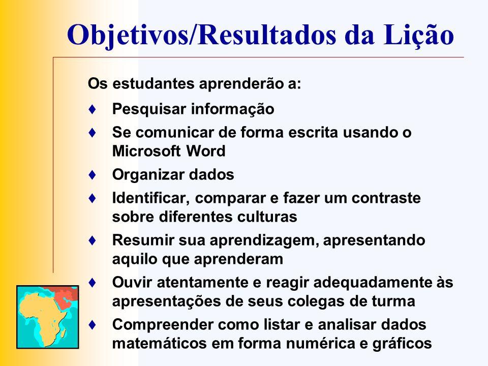 Objetivos/Resultados da Lição Os estudantes aprenderão a: Pesquisar informação Se comunicar de forma escrita usando o Microsoft Word Organizar dados I