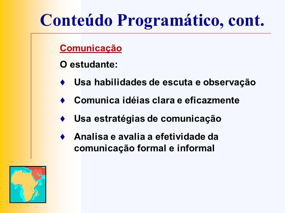 Conteúdo Programático, cont. Comunicação O estudante: Usa habilidades de escuta e observação Comunica idéias clara e eficazmente Usa estratégias de co