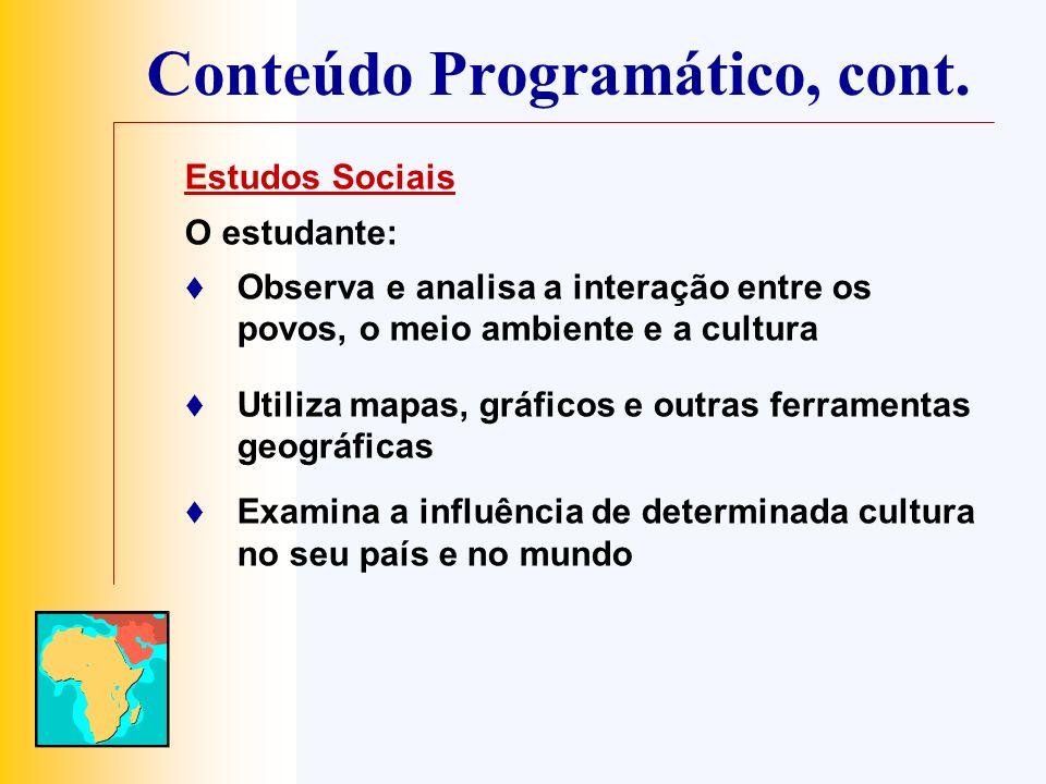 Conteúdo Programático, cont. Estudos Sociais O estudante: Observa e analisa a interação entre os povos, o meio ambiente e a cultura Utiliza mapas, grá
