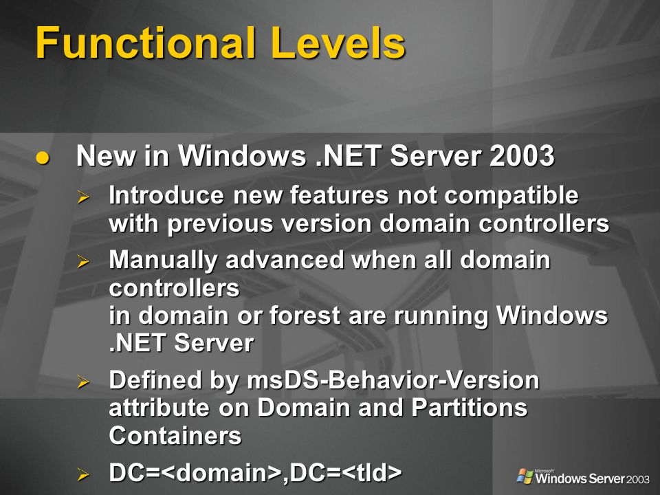 Functional Levels New in Windows.NET Server 2003 New in Windows.NET Server 2003 Introduce new features not compatible with previous version domain controllers Introduce new features not compatible with previous version domain controllers Manually advanced when all domain controllers in domain or forest are running Windows.NET Server Manually advanced when all domain controllers in domain or forest are running Windows.NET Server Defined by msDS-Behavior-Version attribute on Domain and Partitions Containers Defined by msDS-Behavior-Version attribute on Domain and Partitions Containers DC=,DC= DC=,DC= CN=Partitions,CN=Configuration,DC=, DC= CN=Partitions,CN=Configuration,DC=, DC=