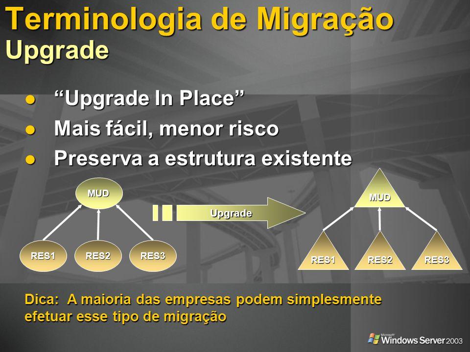 MUD RES1RES2RES3 Upgrade MUD RES3RES2RES1 Dica: A maioria das empresas podem simplesmente efetuar esse tipo de migração Terminologia de Migração Upgra