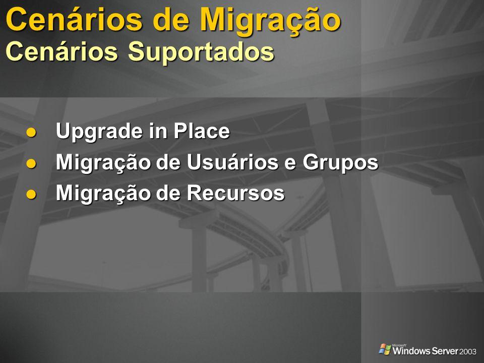Upgrade in Place Upgrade in Place Migração de Usuários e Grupos Migração de Usuários e Grupos Migração de Recursos Migração de Recursos Cenários de Mi