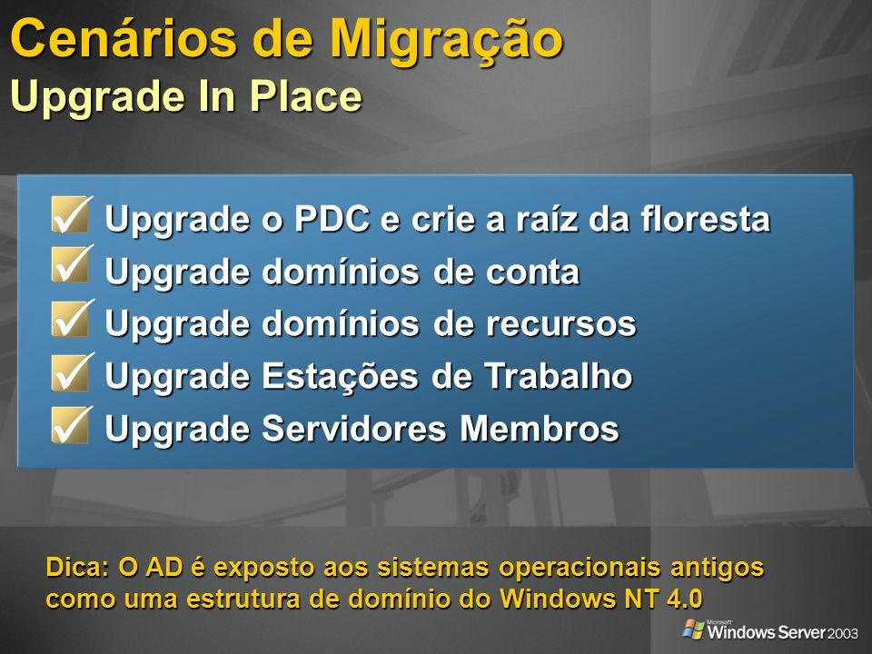 Dica: Um administrador trabalhando em um cliente sem o AD pode continuar a usar o Windows NT 4.0 administration tools Fase 1: Diminua os riscos e mantenha o controle Fase 1: Diminua os riscos e mantenha o controle Domínios com menos usuários; Domínios com menos usuários; Controladores de Domínio controlados pelo time de migração Controladores de Domínio controlados pelo time de migração Fase 2: Domínios de Contas maiores Fase 2: Domínios de Contas maiores Fase 3: Domínios locais remanescentes que precisam ser reestruturados Fase 3: Domínios locais remanescentes que precisam ser reestruturados Cenários de Migração Upgrade In Place: Domínios de Contas