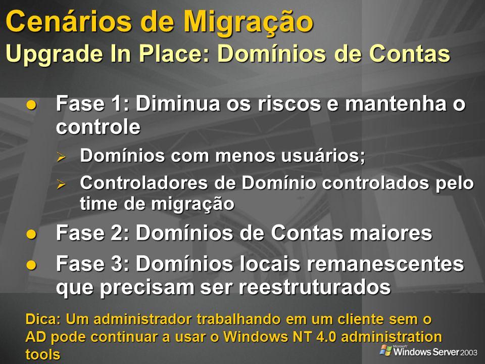 Dica: Um administrador trabalhando em um cliente sem o AD pode continuar a usar o Windows NT 4.0 administration tools Fase 1: Diminua os riscos e mant