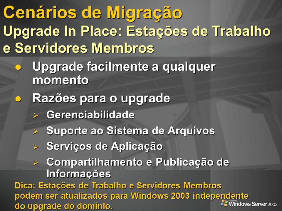 PDC Windows NT4 Upgrade o PDC Upgrade o PDC Modo Misto BDC BDC BDC Desligue um BDC Desligue um BDCBDC Modo 2003 Mude para o Modo Nativo Mude para o Modo Nativo Upgrade BDCs Upgrade BDCs Cenários de Migração Upgrade In Place