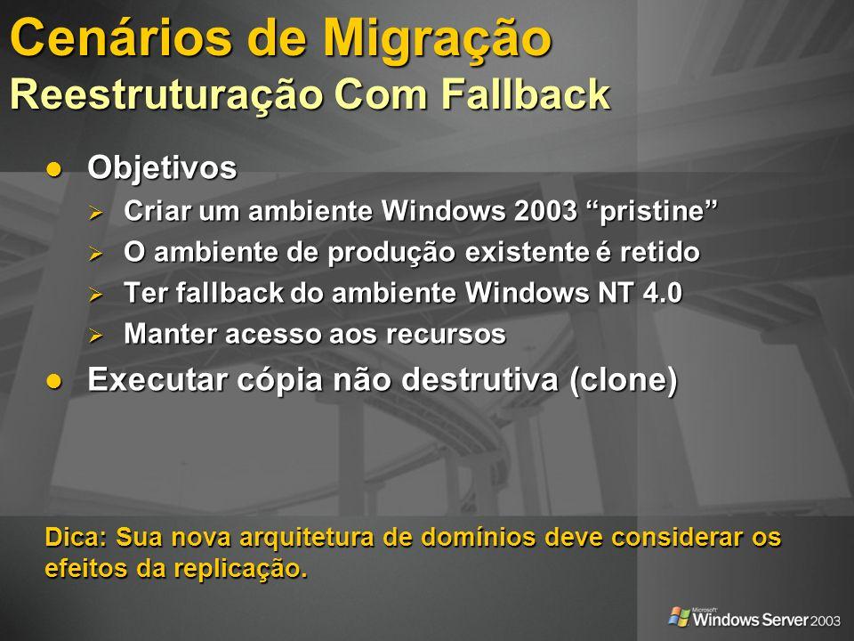 Baseado em Assistentes Baseado em Assistentes Execução em Modo Teste Execução em Modo Teste Relatórios Relatórios Capacidade de Fallback Capacidade de Fallback Auditoria Auditoria Agentes de Re-ACL rodam em Windows NT 3.51, Windows NT 4.0 e Windows 2000 Agentes de Re-ACL rodam em Windows NT 3.51, Windows NT 4.0 e Windows 2000 Cenários de Migração Active Directory Migration Tool