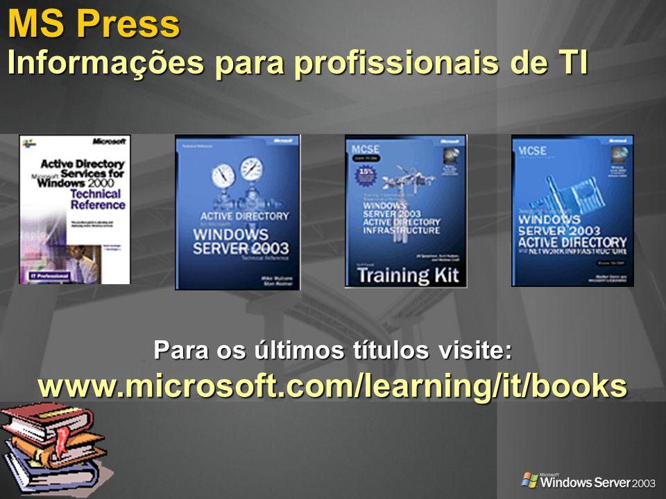 MS Press Informações para profissionais de TI Para os últimos títulos visite: www.microsoft.com/learning/it/books