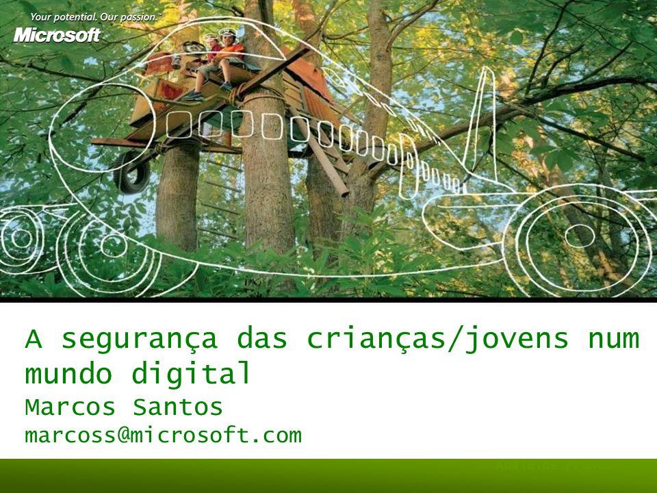Agenda Recuar no tempo O que é a Segurança Os jovens e a Segurança O papel da Microsoft –Iniciativas Globais –Iniciativas Locais Futuro Conclusões
