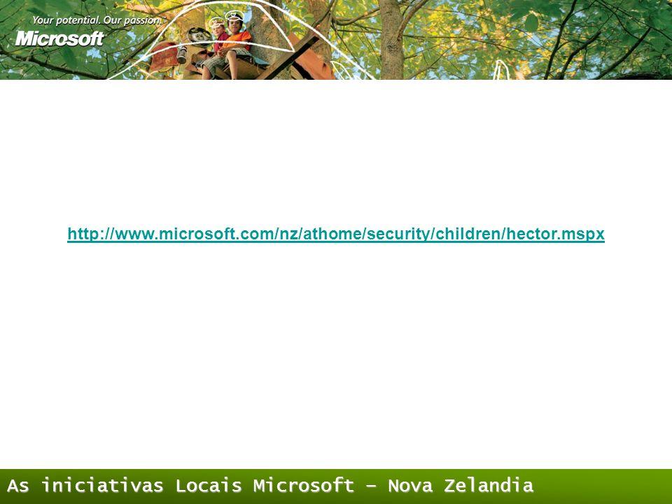 As iniciativas Locais Microsoft – Nova Zelandia http://www.microsoft.com/nz/athome/security/children/hector.mspx