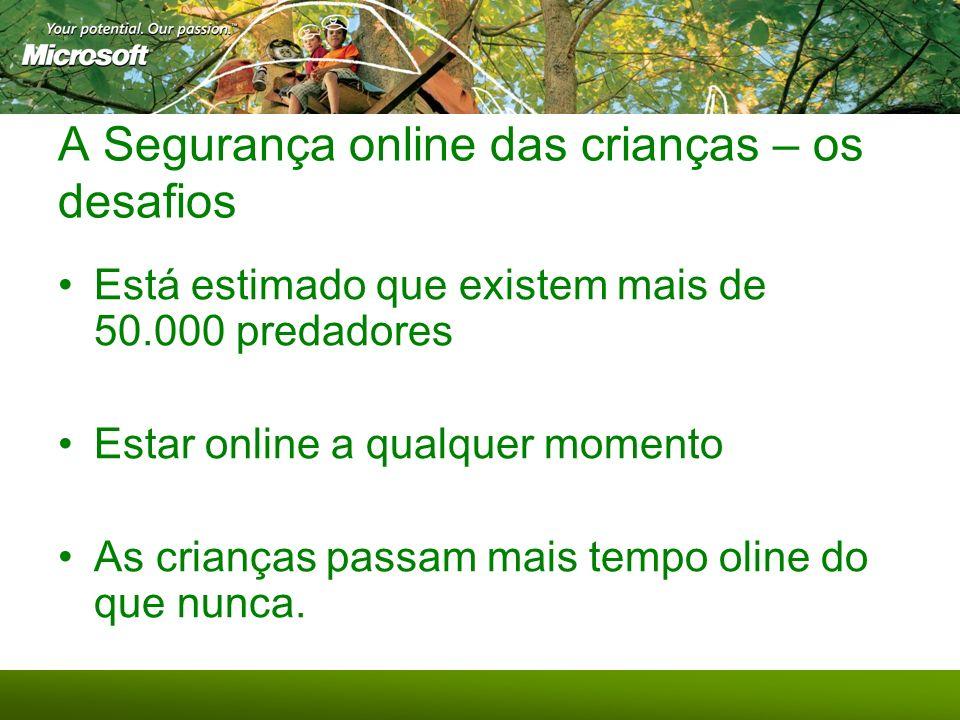 A Segurança online das crianças – os desafios Está estimado que existem mais de 50.000 predadores Estar online a qualquer momento As crianças passam m