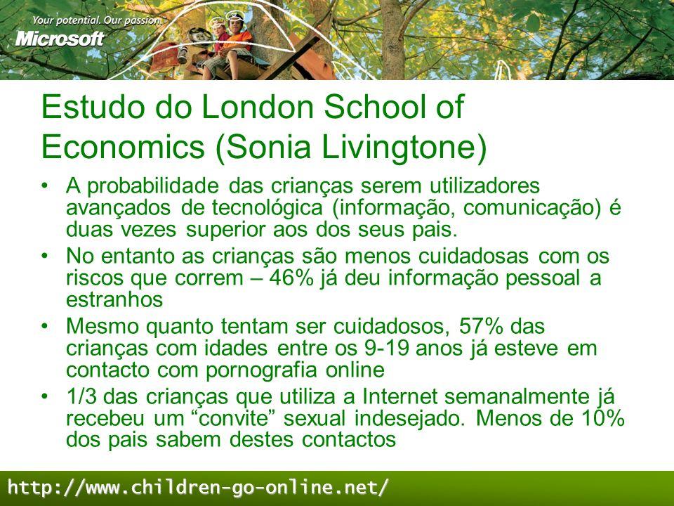 Estudo do London School of Economics (Sonia Livingtone) A probabilidade das crianças serem utilizadores avançados de tecnológica (informação, comunica