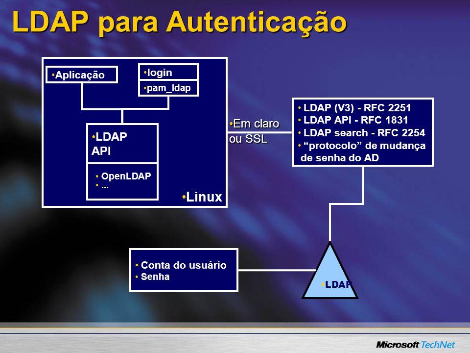 Linux LDAP para Autenticação LDAP OpenLDAP... LDAP (V3) - RFC 2251 LDAP API - RFC 1831 LDAP search - RFC 2254 protocolo de mudança de senha do AD logi