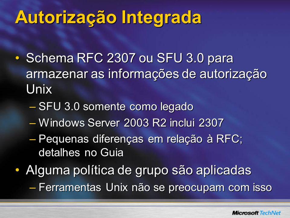 Autorização Integrada Schema RFC 2307 ou SFU 3.0 para armazenar as informações de autorização UnixSchema RFC 2307 ou SFU 3.0 para armazenar as informa