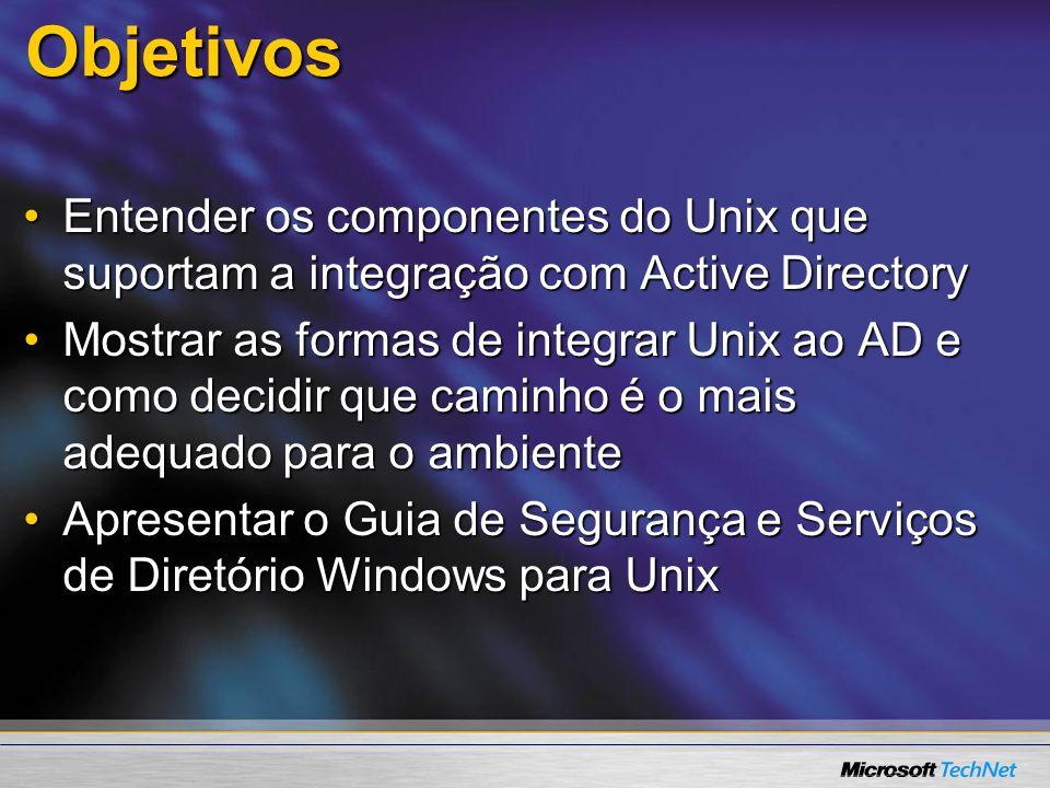 Configuração LDAP Passo 1: Estenda o schema do AD schema para armazenar informação de autorização do UnixPasso 1: Estenda o schema do AD schema para armazenar informação de autorização do Unix Passo 2: Provisione usuários e grupos para o UnixPasso 2: Provisione usuários e grupos para o Unix Passo 3: Configure o cliente ldap Unix para se conectar ao ADPasso 3: Configure o cliente ldap Unix para se conectar ao AD Passo 4: Configure nss_ldap para usar os atributos desejados no ADPasso 4: Configure nss_ldap para usar os atributos desejados no AD