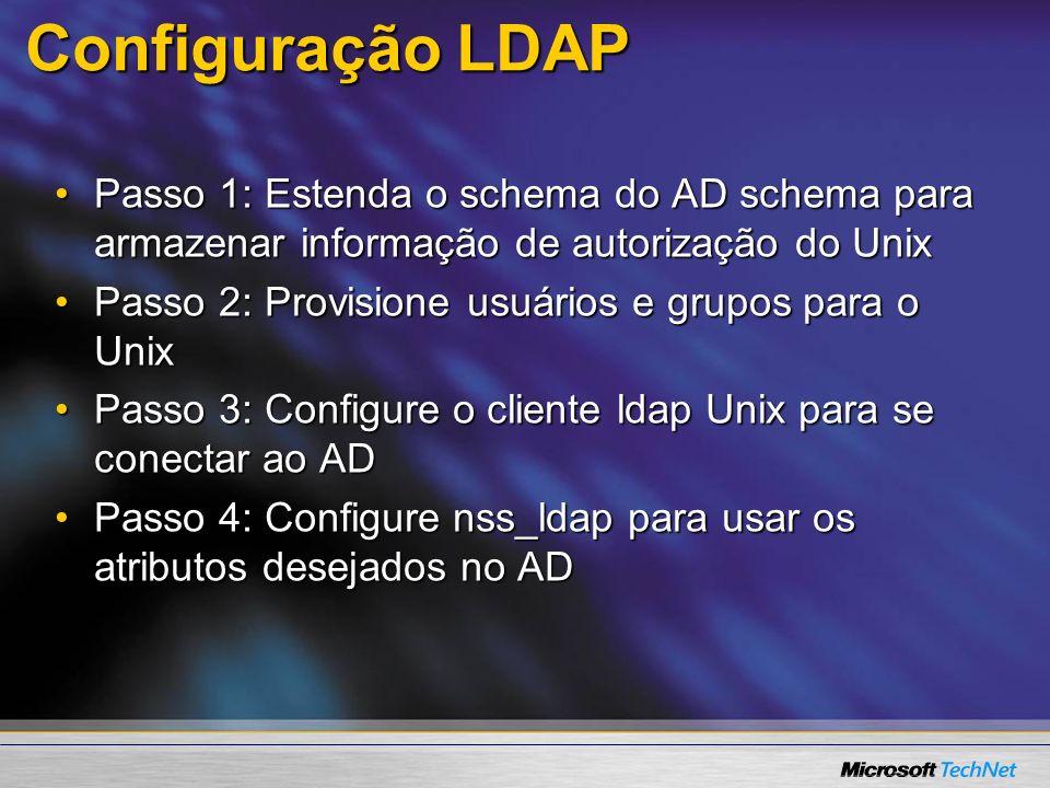 Configuração LDAP Passo 1: Estenda o schema do AD schema para armazenar informação de autorização do UnixPasso 1: Estenda o schema do AD schema para a