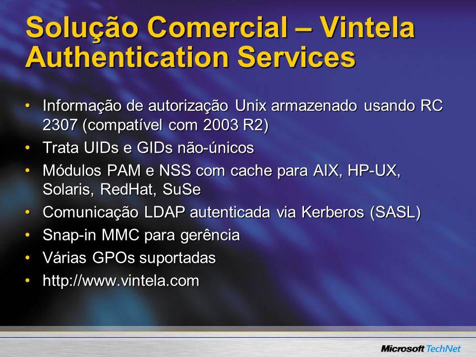 Solução Comercial – Vintela Authentication Services Informação de autorização Unix armazenado usando RC 2307 (compatível com 2003 R2)Informação de aut