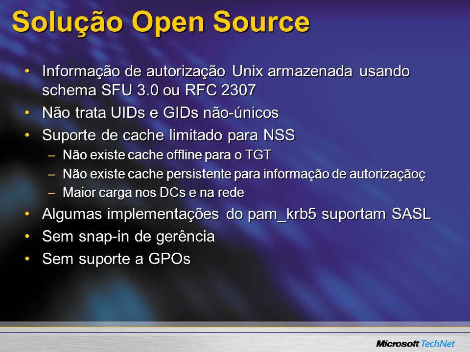 Solução Open Source Informação de autorização Unix armazenada usando schema SFU 3.0 ou RFC 2307Informação de autorização Unix armazenada usando schema