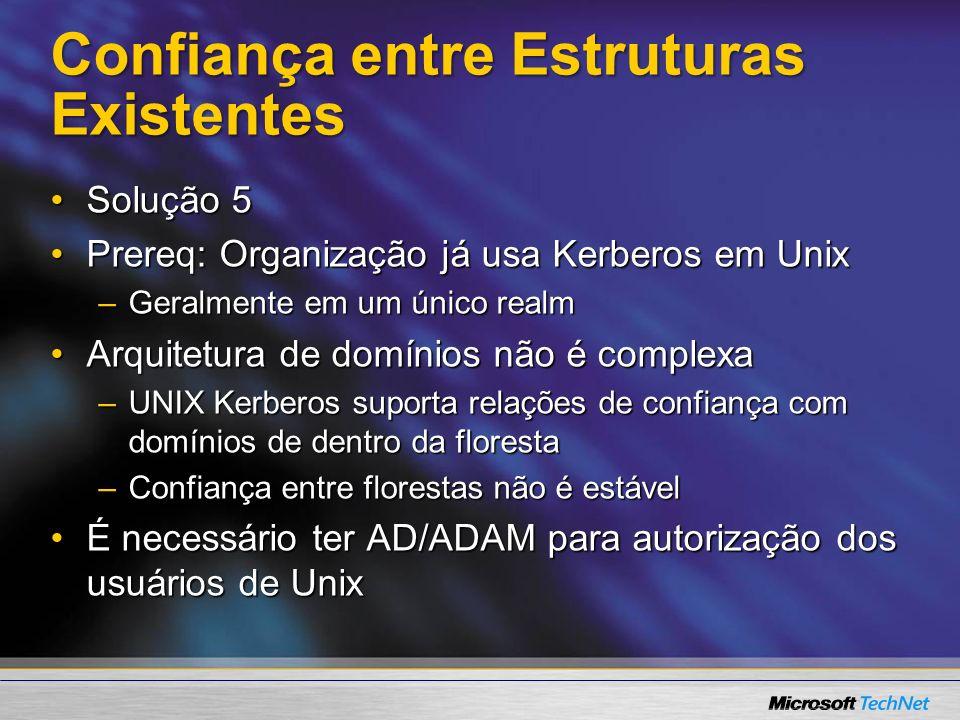 Solução Comercial – Vintela Authentication Services Informação de autorização Unix armazenado usando RC 2307 (compatível com 2003 R2)Informação de autorização Unix armazenado usando RC 2307 (compatível com 2003 R2) Trata UIDs e GIDs não-únicosTrata UIDs e GIDs não-únicos Módulos PAM e NSS com cache para AIX, HP-UX, Solaris, RedHat, SuSeMódulos PAM e NSS com cache para AIX, HP-UX, Solaris, RedHat, SuSe Comunicação LDAP autenticada via Kerberos (SASL)Comunicação LDAP autenticada via Kerberos (SASL) Snap-in MMC para gerênciaSnap-in MMC para gerência Várias GPOs suportadasVárias GPOs suportadas http://www.vintela.comhttp://www.vintela.com