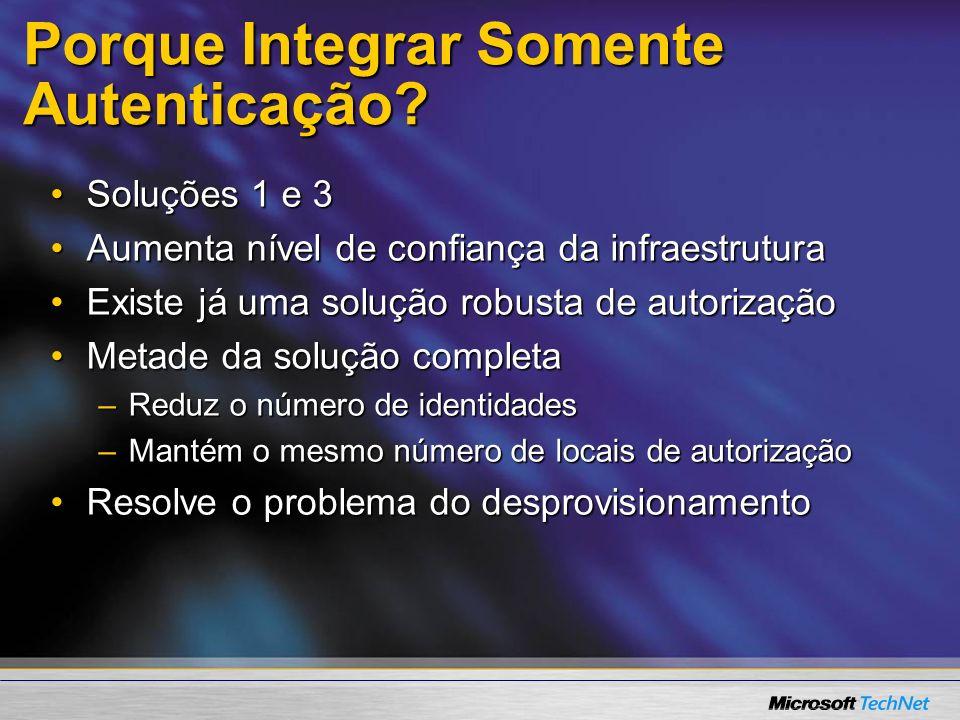 Porque Integrar Somente Autenticação? Soluções 1 e 3Soluções 1 e 3 Aumenta nível de confiança da infraestruturaAumenta nível de confiança da infraestr