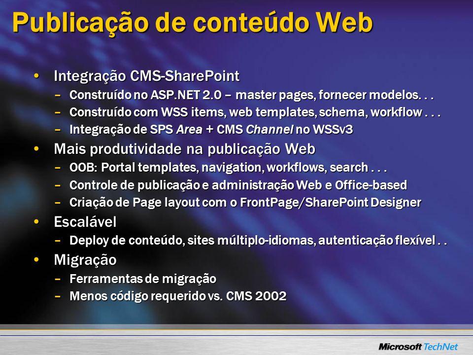 Publicação de conteúdo Web Integração CMS-SharePointIntegração CMS-SharePoint –Construído no ASP.NET 2.0 – master pages, fornecer modelos... –Construí