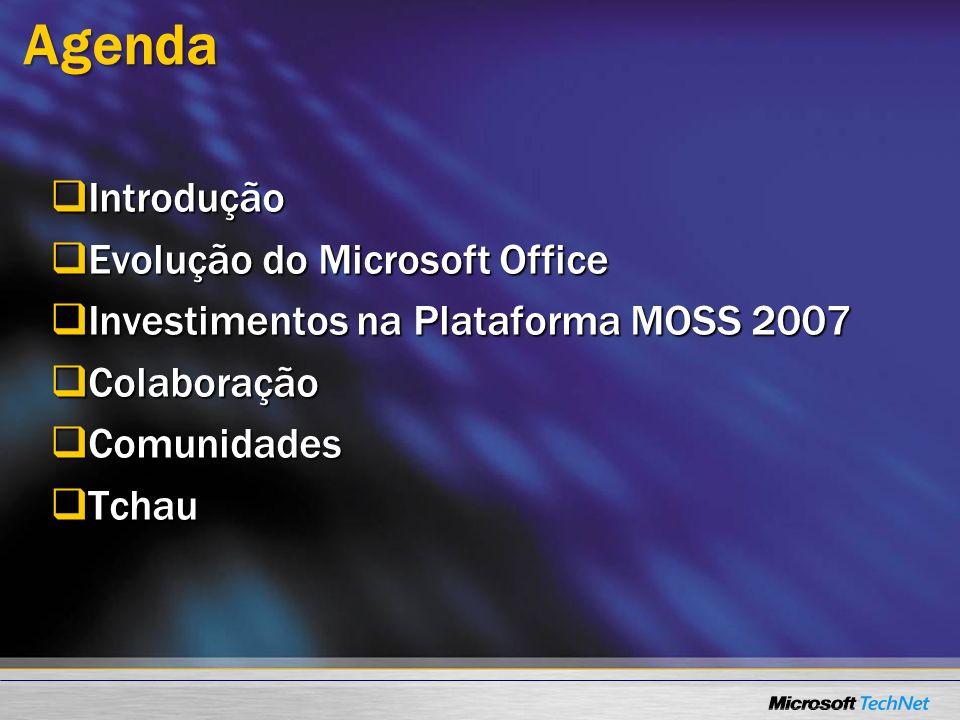 Agenda Introdução Introdução Evolução do Microsoft Office Evolução do Microsoft Office Investimentos na Plataforma MOSS 2007 Investimentos na Platafor