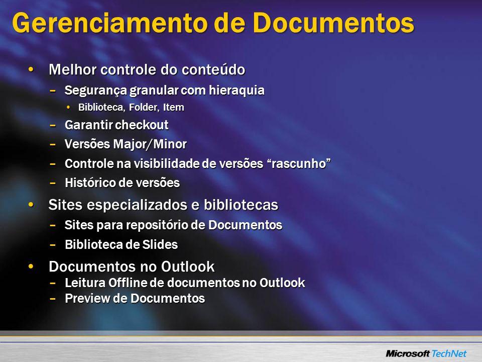 Gerenciamento de Documentos Melhor controle do conteúdoMelhor controle do conteúdo –Segurança granular com hieraquia Biblioteca, Folder, ItemBibliotec