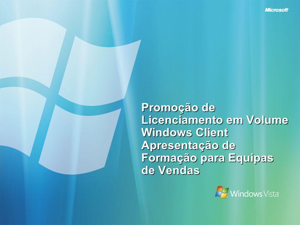 Agenda Introdução e visão geral Conceitos básicos sobre o licenciamento em Volume e o Software Assurance de Windows Client Argumentação de sucesso para ofertas de tempo limitado Outros recursos