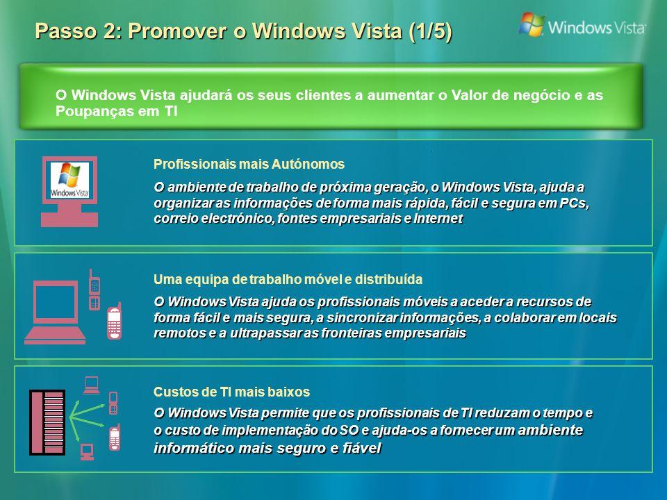 O Windows Vista ajudará os seus clientes a aumentar o Valor de negócio e as Poupanças em TI Passo 2: Promover o Windows Vista (1/5) O ambiente de trabalho de próxima geração, o Windows Vista, ajuda a organizar as informações de forma mais rápida, fácil e segura em PCs, correio electrónico, fontes empresariais e Internet Profissionais mais Autónomos O Windows Vista permite que os profissionais de TI reduzam o tempo e o custo de implementação do SO e ajuda-os a fornecer um ambiente informático mais seguro e fiável Custos de TI mais baixos O Windows Vista ajuda os profissionais móveis a aceder a recursos de forma fácil e mais segura, a sincronizar informações, a colaborar em locais remotos e a ultrapassar as fronteiras empresariais Uma equipa de trabalho móvel e distribuída