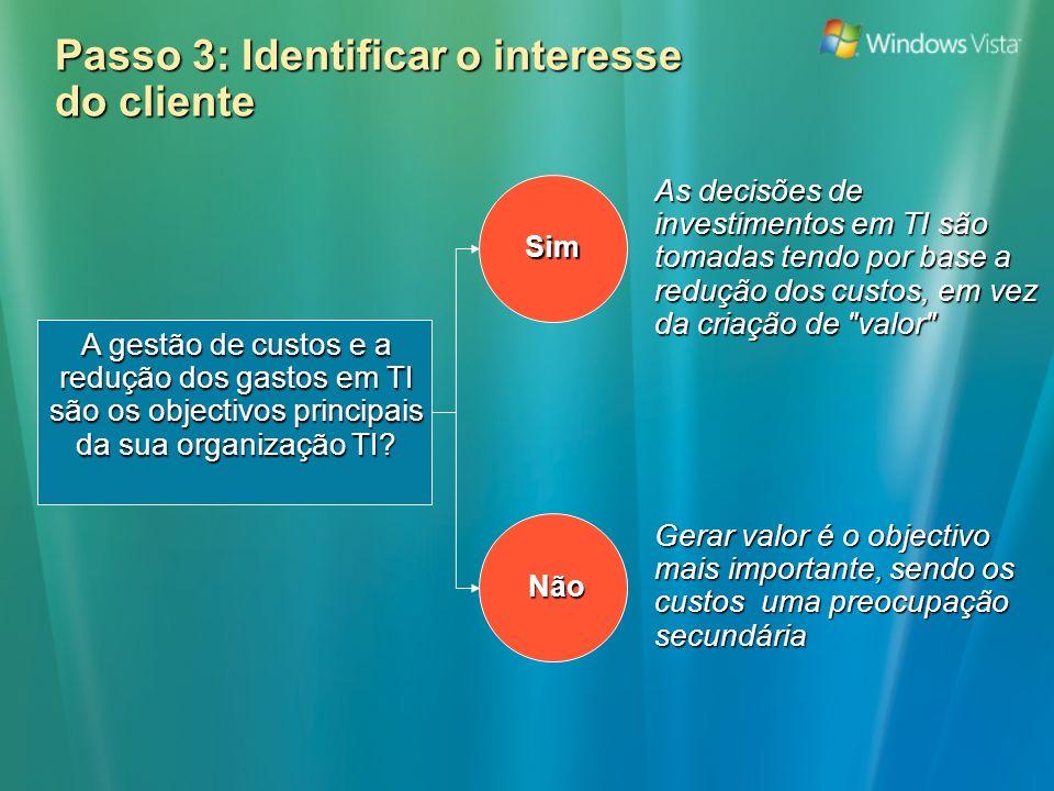 Passo 3: Identificar o interesse do cliente A gestão de custos e a redução dos gastos em TI são os objectivos principais da sua organização TI.
