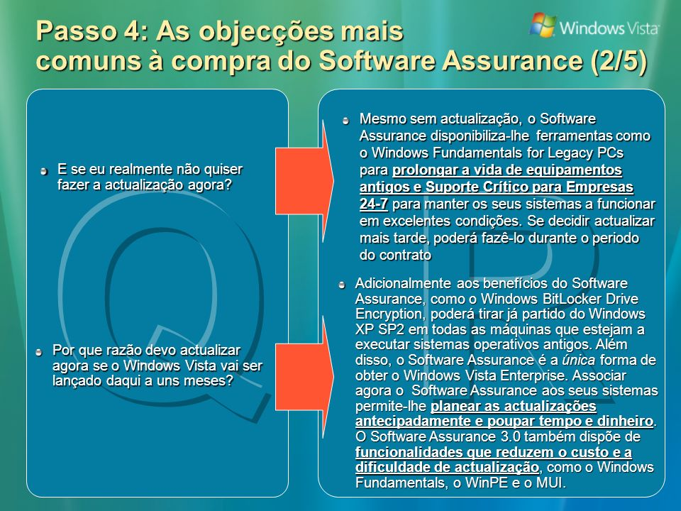 Passo 4: As objecções mais comuns à compra do Software Assurance (2/5) Mesmo sem actualização, o Software Assurance disponibiliza-lhe ferramentas como o Windows Fundamentals for Legacy PCs para prolongar a vida de equipamentos antigos e Suporte Crítico para Empresas 24-7 para manter os seus sistemas a funcionar em excelentes condições.