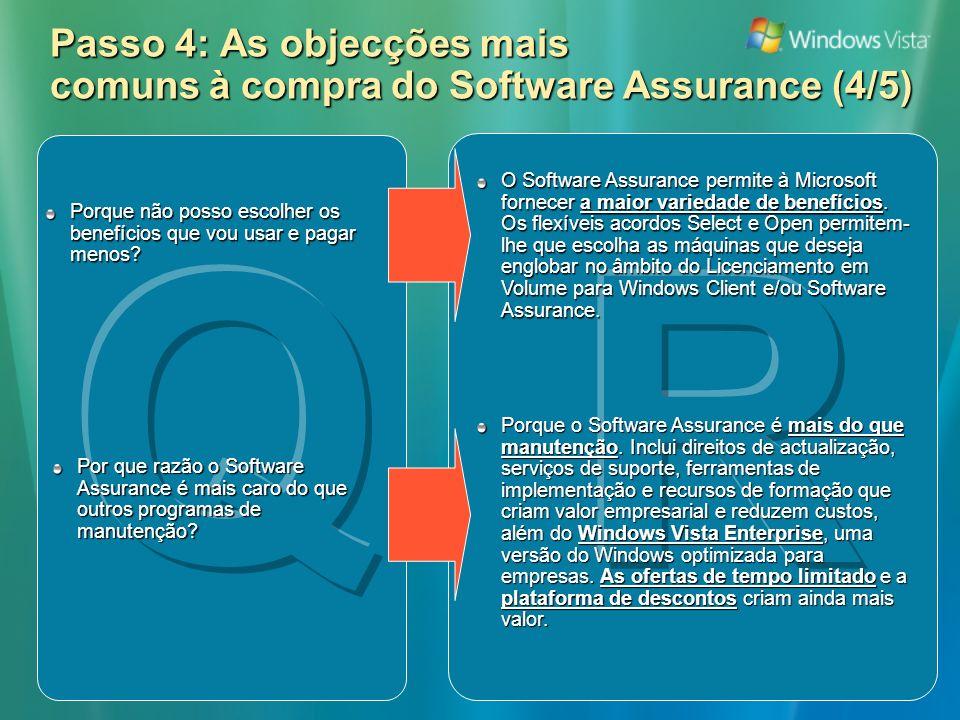 Passo 4: As objecções mais comuns à compra do Software Assurance (4/5) O Software Assurance permite à Microsoft fornecer a maior variedade de benefícios.