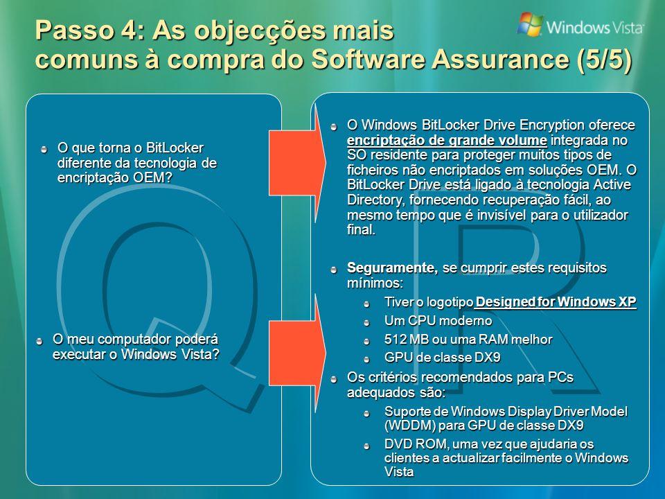 Passo 4: As objecções mais comuns à compra do Software Assurance (5/5) O Windows BitLocker Drive Encryption oferece encriptação de grande volume integrada no SO residente para proteger muitos tipos de ficheiros não encriptados em soluções OEM.