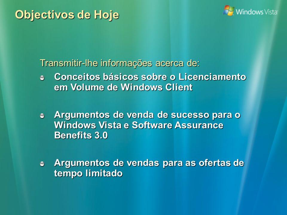 Passo 2: Promover o Windows Vista (3/5) 10 principais razões para o seu cliente querer o Windows Vista As apresentações, aplicações e os ficheiros podem ser partilhados num pequeno grupo, sem necessidade de um projector ou uma rede A versão Windows Vista Business ajuda os utilizadores móveis a detectar, analisar e corrigir muitos dos problemas de equipamento e de ligação de rede sem necessidade do suporte de TI Acesso imediato a dados com funcionalidade instantânea de ligar/desligar Trabalho prolongado, com o aumento de autonomia das baterias Aumentar o valor dos profissionais móveis 4 Reduzir o risco de segurança de dados e da rede 5 Reduzir o custo e a complexidade de implementação 6 Os utilizadores fora da rede da empresa estarão protegidos contra spyware e ataques através do browser Redução da complexidade de configuração de imagens – os drivers, as actualizações e os componentes do Windows Vista podem ser adicionados ou removidos offline sem iniciar a imagem Os custos de experimentação são reduzidos, devido às ferramentas de compatibilidade de aplicações do Windows Vista