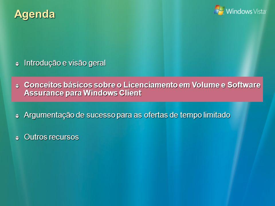 Agenda Introdução e visão geral Conceitos básicos sobre o Licenciamento em Volume e Software Assurance para Windows Client Argumentação de sucesso para as ofertas de tempo limitado Outros recursos