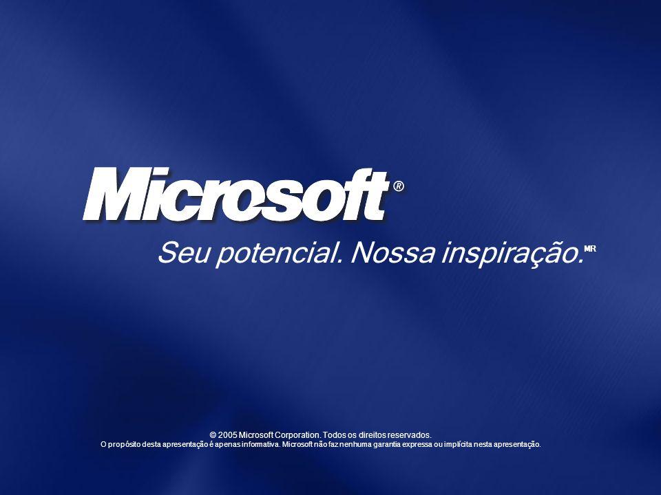 © 2005 Microsoft Corporation. Todos os direitos reservados. O propósito desta apresentação é apenas informativa. Microsoft não faz nenhuma garantia ex