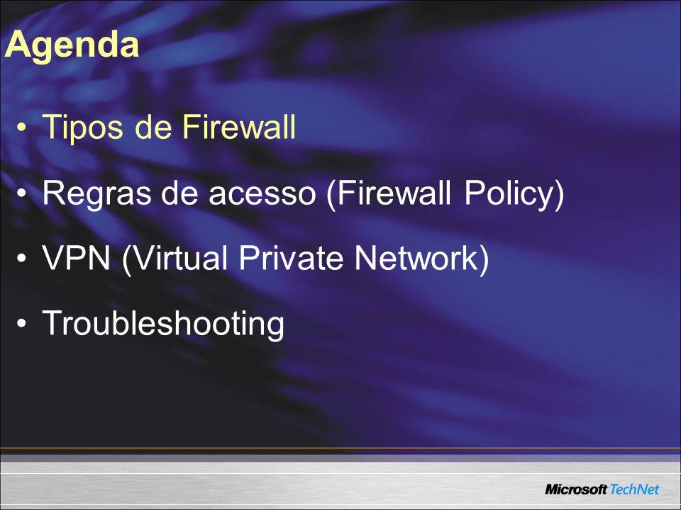 Troubleshooting Problemas comuns: - ISA Server não autentica usuários Causas mais comuns: DNS incorretamente configurado, Active Directory com Problemas, ordem de consulta dos binds das placas de rede Incorreto.