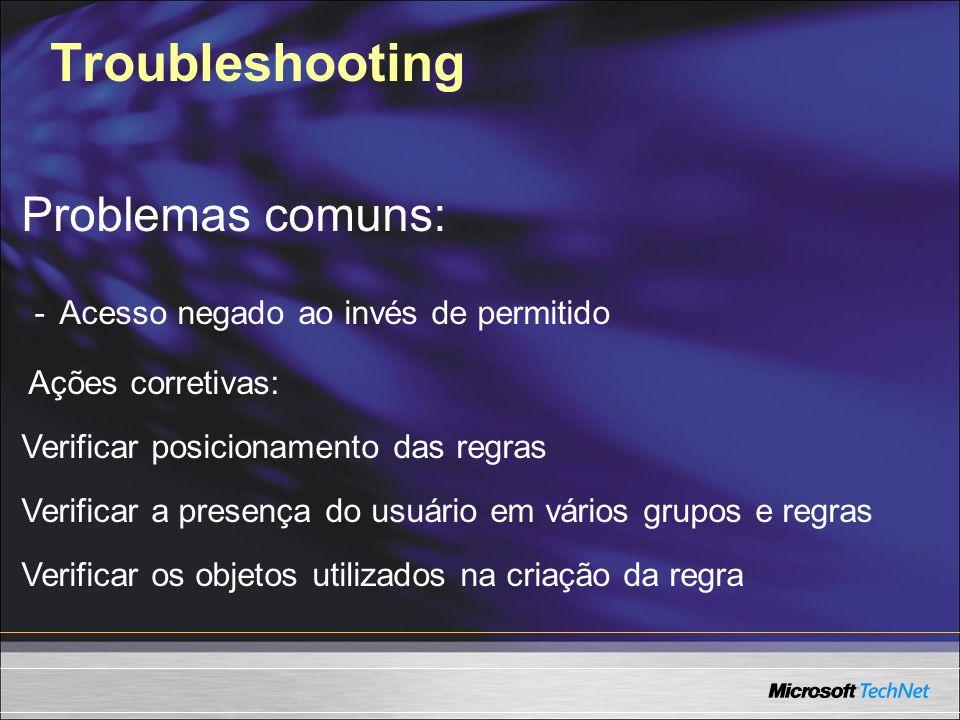 Troubleshooting Problemas comuns: - Acesso negado ao invés de permitido Ações corretivas: Verificar posicionamento das regras Verificar a presença do