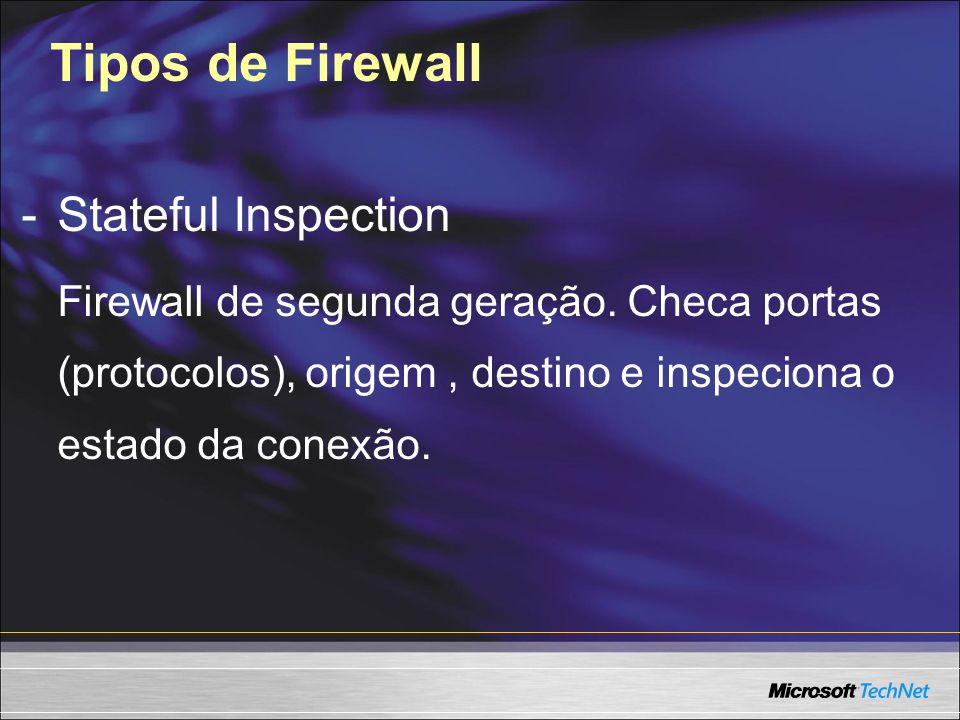 Tipos de Firewall -Stateful Inspection Firewall de segunda geração. Checa portas (protocolos), origem, destino e inspeciona o estado da conexão.