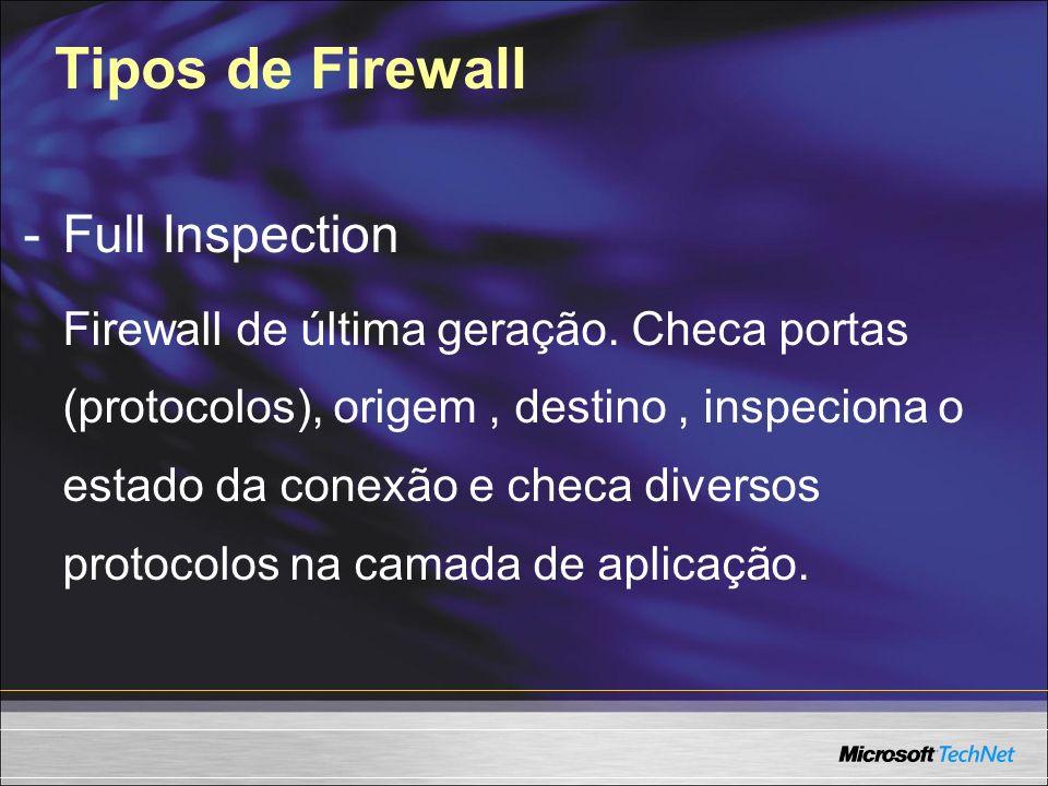 Tipos de Firewall -Full Inspection Firewall de última geração. Checa portas (protocolos), origem, destino, inspeciona o estado da conexão e checa dive