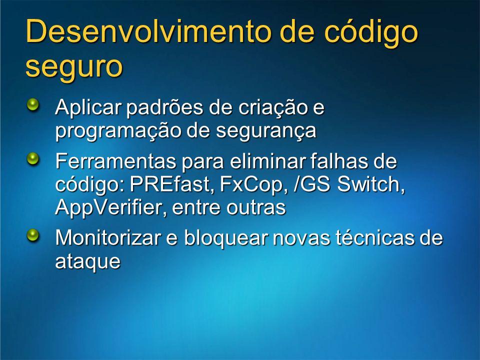 Desenvolvimento de código seguro Aplicar padrões de criação e programação de segurança Ferramentas para eliminar falhas de código: PREfast, FxCop, /GS Switch, AppVerifier, entre outras Monitorizar e bloquear novas técnicas de ataque