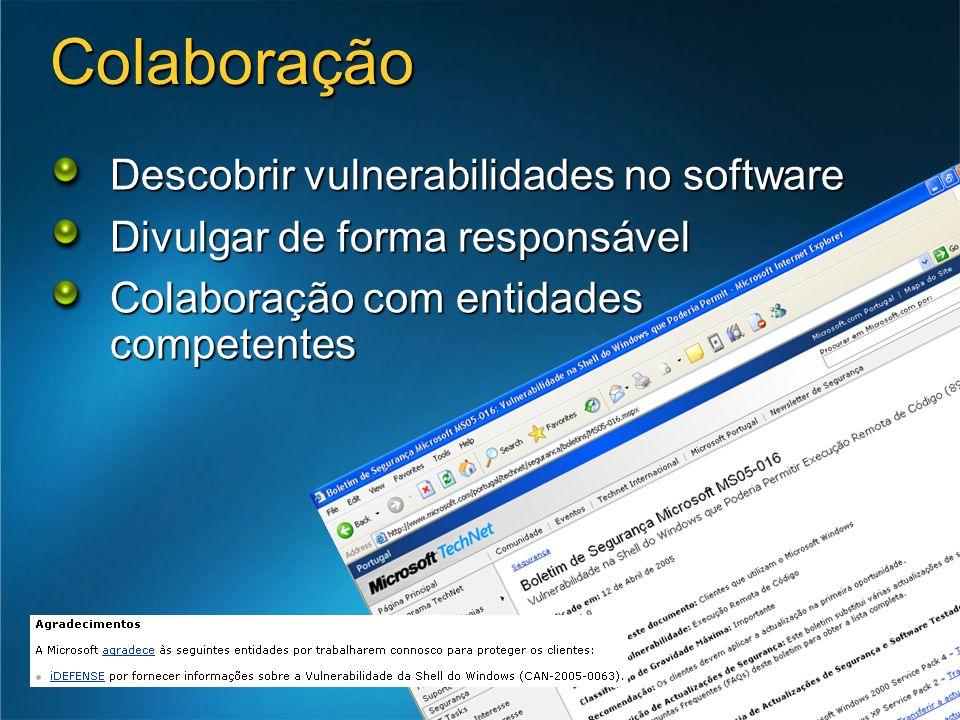 Colaboração Descobrir vulnerabilidades no software Divulgar de forma responsável Colaboração com entidades competentes