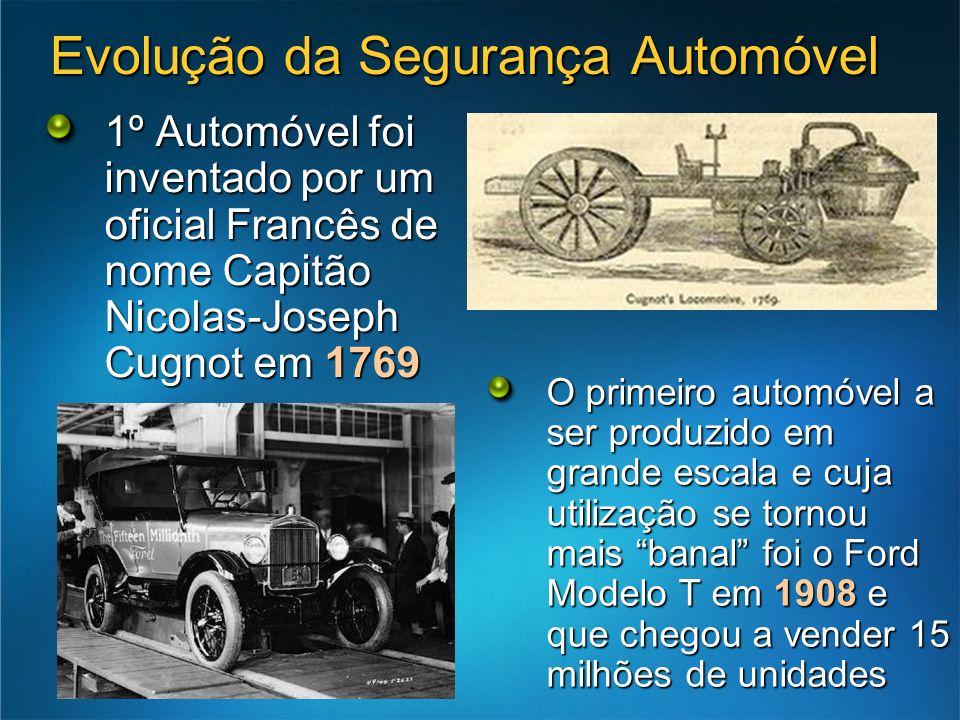 Evolução da Segurança Automóvel 1º Automóvel foi inventado por um oficial Francês de nome Capitão Nicolas-Joseph Cugnot em 1769 O primeiro automóvel a ser produzido em grande escala e cuja utilização se tornou mais banal foi o Ford Modelo T em 1908 e que chegou a vender 15 milhões de unidades
