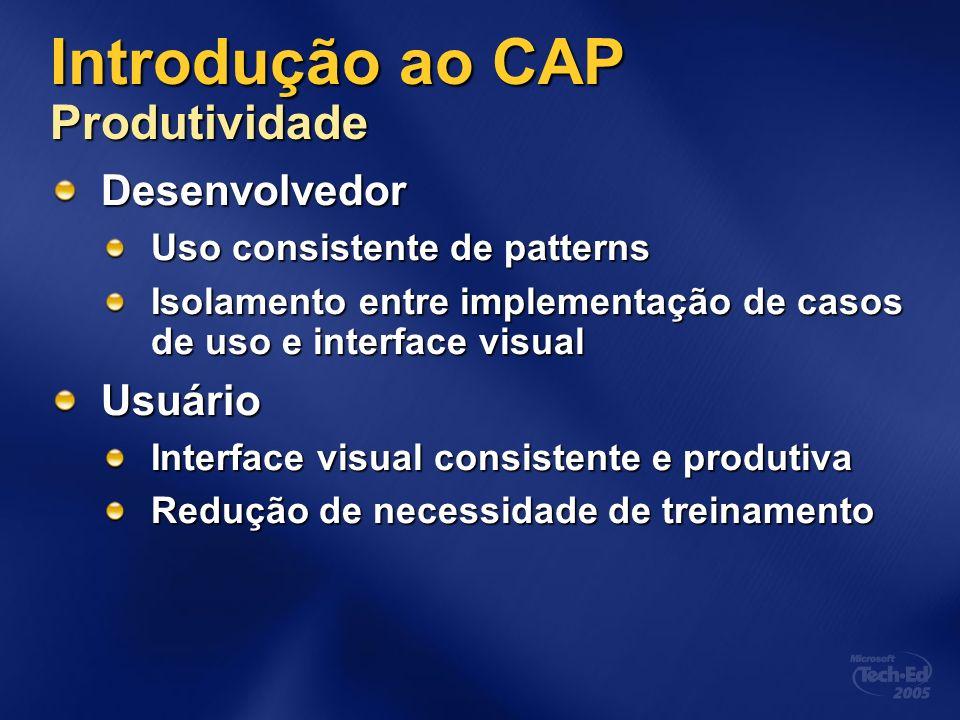 Introdução ao CAP Produtividade Desenvolvedor Uso consistente de patterns Isolamento entre implementação de casos de uso e interface visual Usuário In