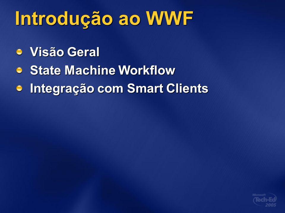 Introdução ao WWF Visão Geral State Machine Workflow Integração com Smart Clients
